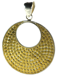 P234G KALA .925 Sterling Silver Bali Round Pendant with 18K Gold Vermeil.