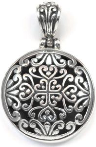 P788 WEDA .925 Sterling Silver Bali Round Pendant