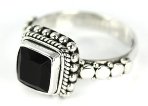 R002BOF PADMA .925 Sterling Silver Ring Handmade in Bali With a Faceted 8mm Onyx Stone