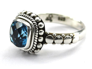 R002BT PADMA .925 Sterling Silver Ring Handmade in Bali With a Cushion Cut 8mm Swiss Blue Topaz Stone