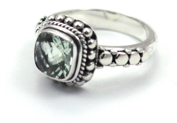 R002GA PADMA .925 Sterling Silver Ring Handmade in Bali With a Cushion Cut 8mm Green Amethyst (Prasiolite) Stone