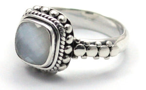 R002MPF PADMA .925 Sterling Silver Ring Handmade in Bali With a Cushion Cut 8mm Mother of Pearl Doublet Stone
