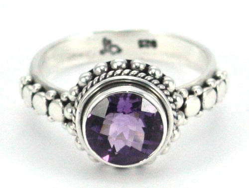 R003AM PADMA .925 Sterling Silver Ring Handmade in Bali With a Cushion Cut 9mm Round Amethyst Stone