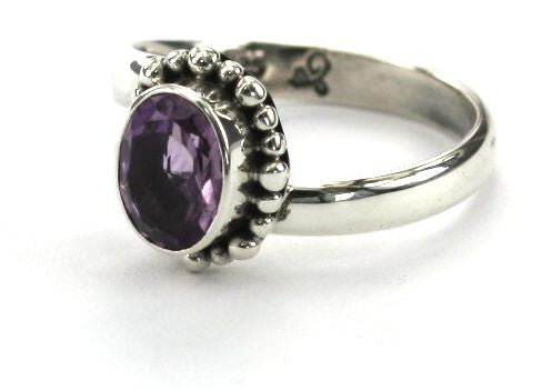 R004AM PADMA Adjustable Ring with Beaded Setting and a 6x8mm Amethyst Stone