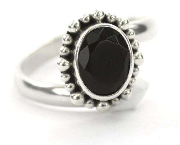 PADMA Adjustable Ring with Beaded Setting and a 7x9mm Black Onyx Stone R004BOF