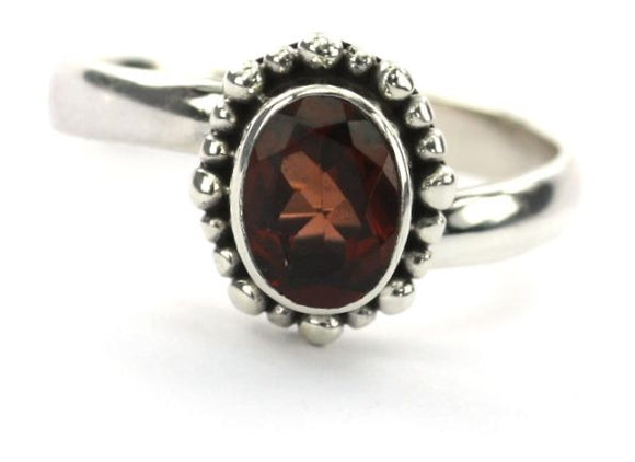 R004FG PADMA Adjustable Ring with Beaded Setting and a 6x8mm Faceted Garnet Stone