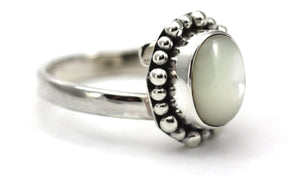 PADMA Adjustable Ring with Beaded Setting and a 7x9mm Mother of Pearl Stone R004MP