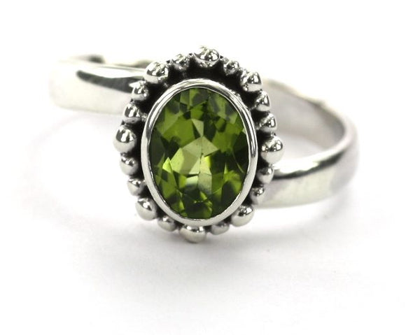 PADMA Adjustable Ring with Beaded Setting and a 6x8mm Peridot Stone R004PD
