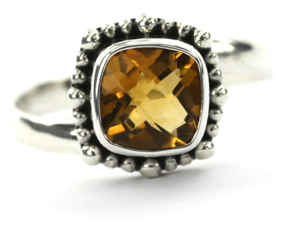R005CT PADMA Adjustable Ring with Beaded Setting and a 8x8mm Square Citrine Stone