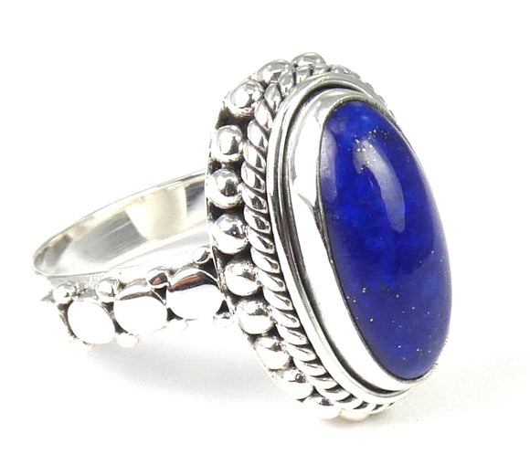 R007LA PADMA .925 Sterling Silver Ring Handmade in Bali With a 7x14mm AA Grade Lapis Stone
