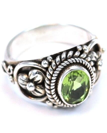 R012PD PADMA .925 Sterling Silver Ring Handmade in Bali With Floral Accents and a Faceted 6x8mm Peridot Stone