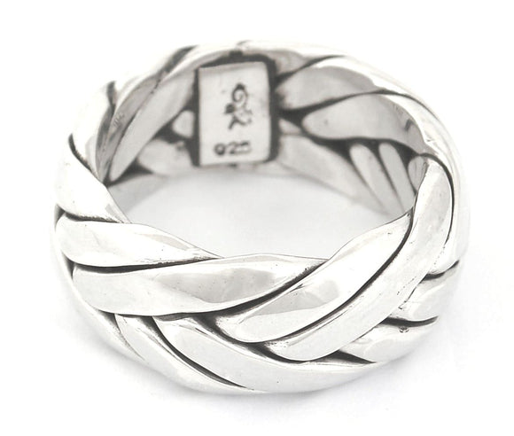 R020L ANYA Large .925 Sterling Silver Ring Handmade in Bali With Interwoven Sterling Strands