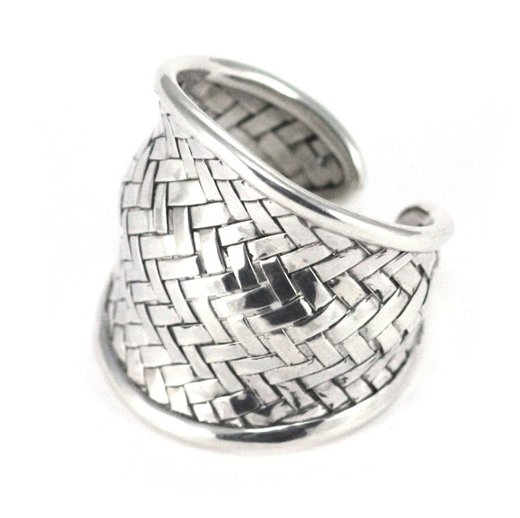 R022 ANYA Woven Adjustable .925 Sterling Silver Ring.