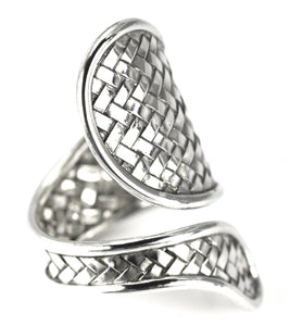 R023 ANYA Woven Adjustable .925 Sterling Silver Spoon Ring.