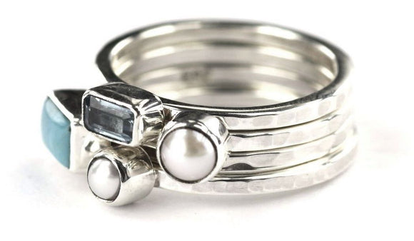 PADMA .925 Sterling Silver Stack Ring Set With Turquoise and Pearls R025AS