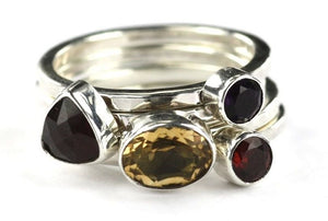 PADMA .925 Sterling Silver Stack Ring Set With Citrine and Garnets R026AS