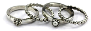 SANUR .925 Sterling Silver Stack Ring Set With Pearl and Flower Design R027SET