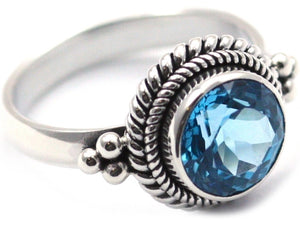 R029BT PADMA .925 Sterling Silver Stack Ring With 10mm Round Swiss Blue Topaz
