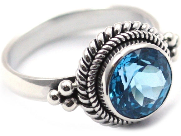 PADMA .925 Sterling Silver Stack Ring With 10mm Round Swiss Blue Topaz R029BT