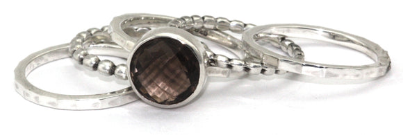 R061SET PADMA .925 Sterling Silver Stack Ring Set With Smoky Quartz