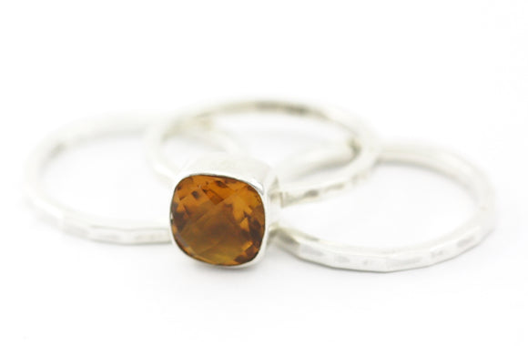 R062SET PADMA .925 Sterling Silver Stack Ring Set With 8mm Square Citrine