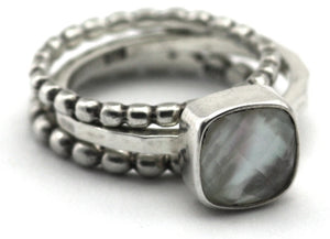 SANUR .925 Sterling Silver Stack Ring Set With 8mm Square Mother of Pearl Doublet R063SET