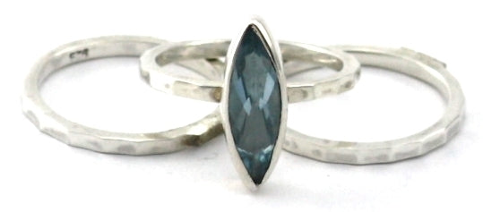 R064SET PADMA .925 Sterling Silver Stack Ring Set With Marquis Cut Sky Blue Topaz