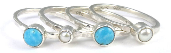 PADMA .925 Sterling Silver Stack Ring Set With Pearls and Turquoise R066SET