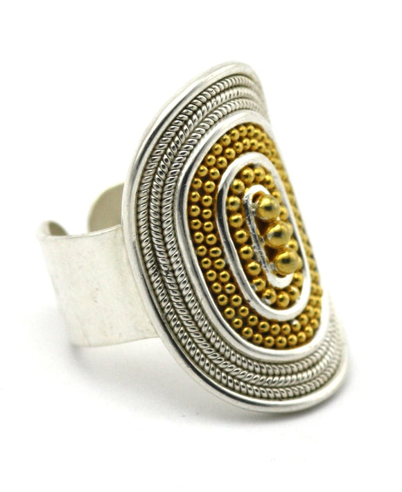 R123G RAYA Adjustable .925 Sterling Silver Ring With Rope Trim, Beaded Center And 18K Gold Vermeil Accents