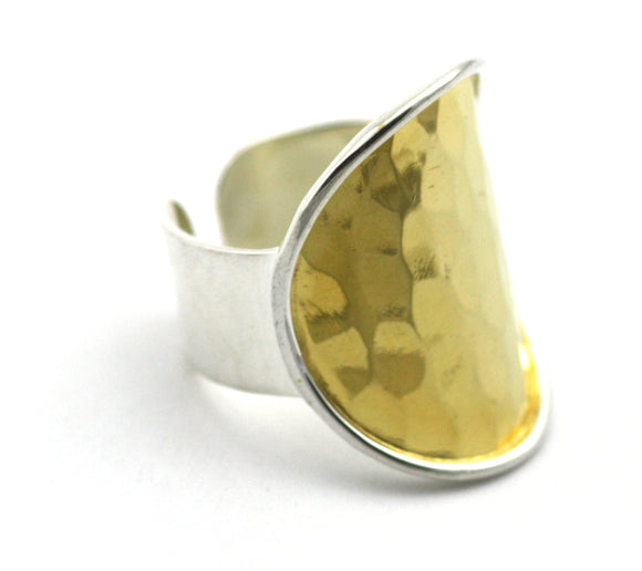 R124G DASA Adjustable .925 Sterling Silver Ring With Hand Hammered Center And 18K Gold Vermeil
