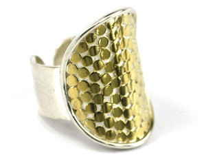 R125G KALA Adjustable .925 Sterling Silver Ring With Classic Hand-Applied Bali Dots And 18K Gold Vermeil Accents