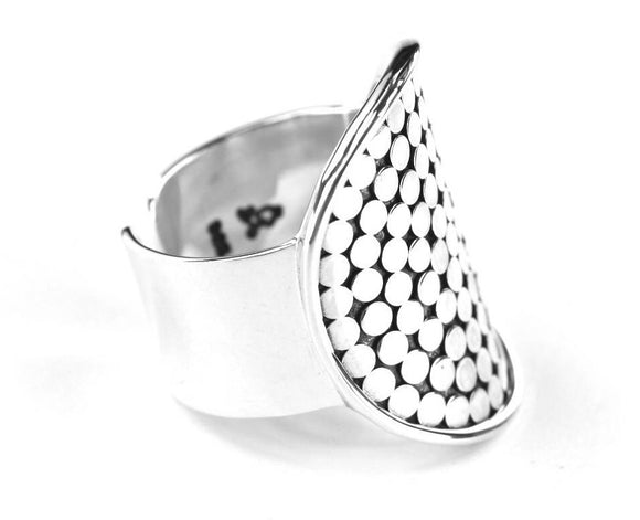 R125 KALA Adjustable .925 Sterling Silver Ring With Classic Hand-Applied Bali Dots