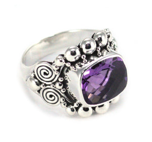 R140AM PADMA .925 Sterling Silver Ring With 10x12mm Amethyst Stone