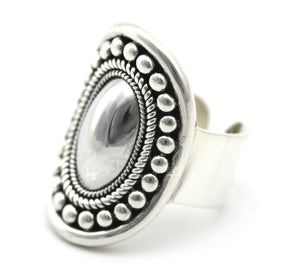 RAYA Adjustable .925 Sterling Silver Ring With Mirror Low Dome Center R160