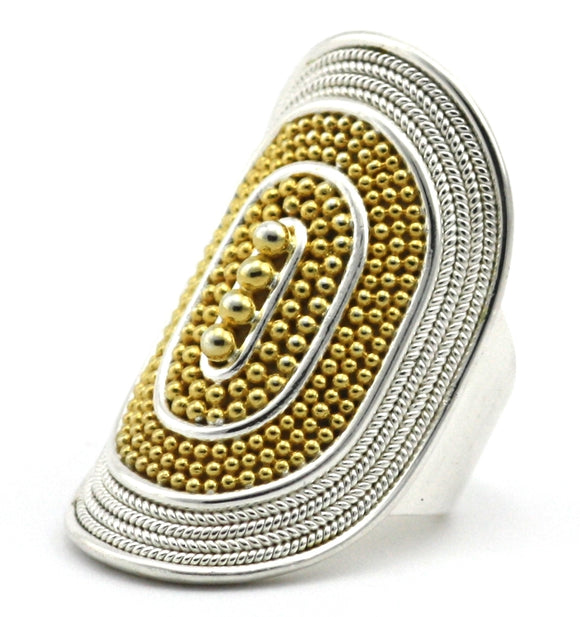 R176G RAYA .925 Sterling Silver Ring With Rope Trim and Beaded Center And 18K Gold Vermeil Accents
