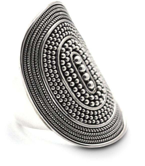 R176 RAYA .925 Sterling Silver Ring With Rope Trim and Beaded Center