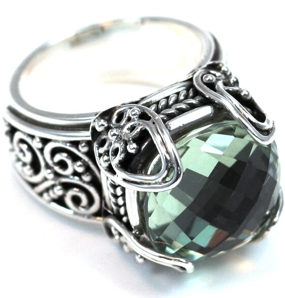 R243GA PADMA .925 Sterling Silver Wide Ring With Regal Hand Set 12mm Cushion Cut Green Amethyst Stone