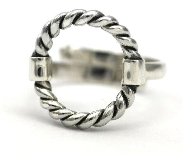 R302 SURA Adjustable .925 Sterling Silver Ring With Twisted Cable Design
