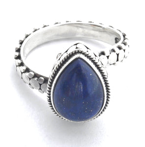 R350LA KALA Adjustable .925 Sterling Silver Ring With Lapis