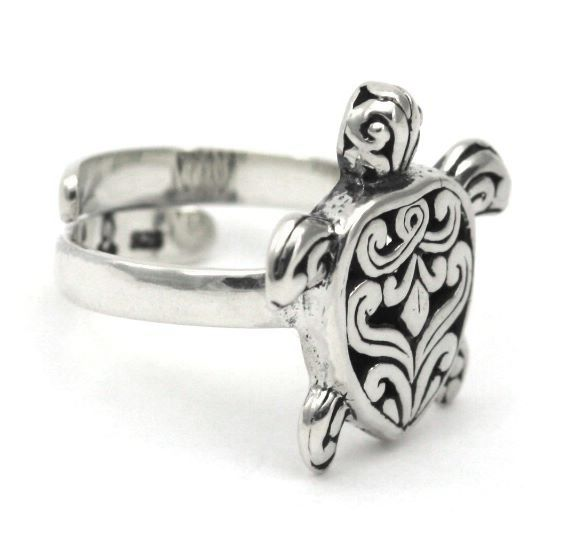 R760 WEDA Adjustable .925 Sterling Silver Sea Turtle Ring