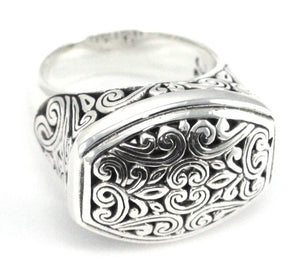 R764 WEDA .925 Sterling Silver Ring With Carved Detail Inside and Outside