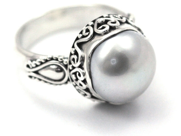 R792PL SANUR .925 Sterling Silver Ring With 11mm Round Pearl