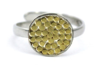 R840G KALA Adjustable .925 Sterling Silver Ring With Classic Bali Dots And 18k Gold Vermeil