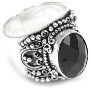 R882BOF PADMA .925 Sterling Silver Ring With 8x10mm Faceted Black Onyx