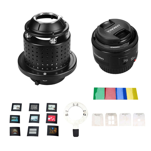 NiceFoto SN-29 Flash Light Concentrator Conical Snoot Video Light Art Styling with YONGNUO YN50mm F1.8 Lens Bowens Mount Accessories