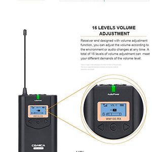 COMICA CVM-WM100 Professional UHF 48 Channels and 100m Working Distance Omni- Directional Wireless Lavalier Microphone - Vitopal
