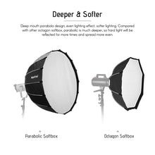 Load image into Gallery viewer, NiceFoto LED 120cm Quick Set-up Folding Deep Parabolic Umbrella Softbox Photography Studio SoftBox with Grid Carry Bag for Photo Studio Lighting Flash for Nicefoto,falconeyes - Vitopal