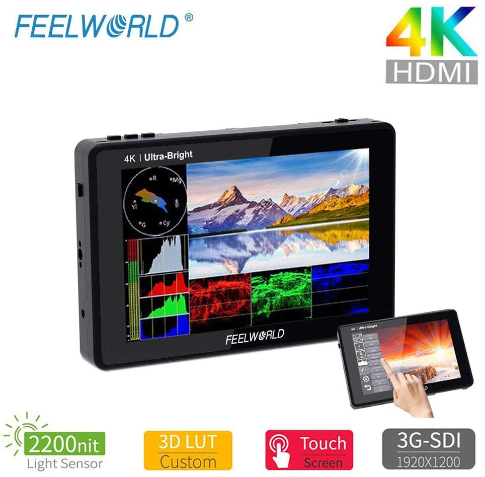 FEELWORLD LUT7S 7 Inch 2200nits DSLR Camera Field Monitor, Small Full HD 1920x1080 IPS Touch Screen 3D LUT Film Video Display Monitors with 4K HDMI SDI Input and Output (LUT7S) - Vitopal