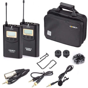 COMICA CVM-WM100 Professional UHF 48 Channels and 100m Working Distance Omni- Directional Wireless Lavalier Microphone