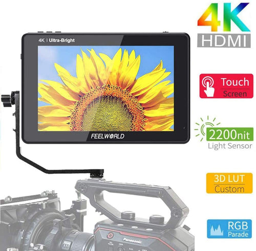 FEELWORLD LUT7 7 Inch 2200nits DSLR Camera Field Monitor, Small Full HD 1920x1080 IPS Touch Screen 3D LUT Film Video Display Monitors with 4K HDMI Input and Output (LUT7) - Vitopal